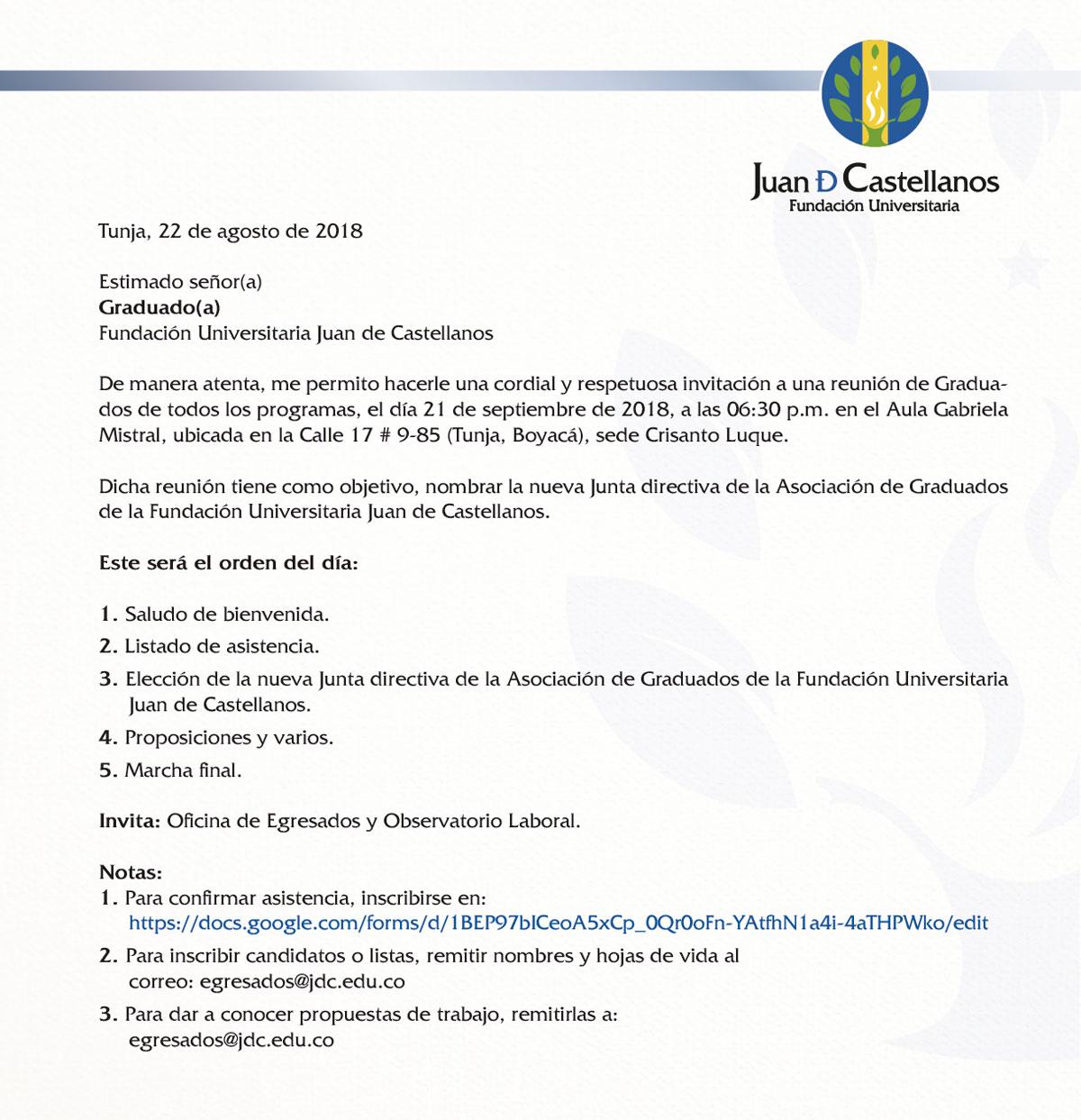 Invitación Para Graduados De La Jdc Juan De Castellanos